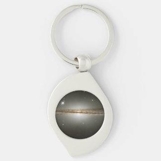 Warped galaxy Silver-Colored swirl keychain