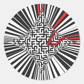 Warped Maze Explosion Classic Round Sticker
