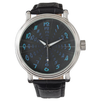 Warped Wormhole Space Tunnel Numbers Wristwatch