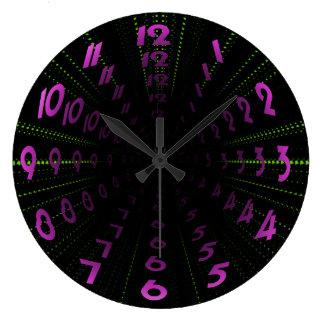 Warped Wormhole Space Tunnel Purple Green Large Clock