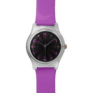 Warped Wormhole Space Tunnel Purple Green Wrist Watch