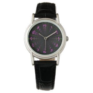 Warped Wormhole Space Tunnel Purple Green Wristwatch