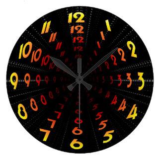Warped Wormhole Space Tunnel Yellow-Orange Large Clock
