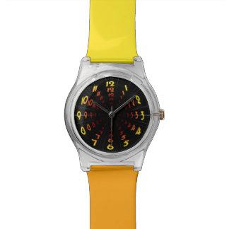 Warped Wormhole Space Tunnel Yellow-Orange Wrist Watch
