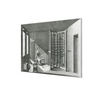 Warping silk threads, illustration Encylopedia Canvas Print