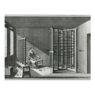 Warping silk threads, illustration Encylopedia Postcard