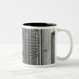 Warping silk threads, illustration Encylopedia Two-Tone Coffee Mug