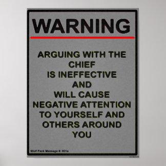 Warrant Officer Warning Message Poster