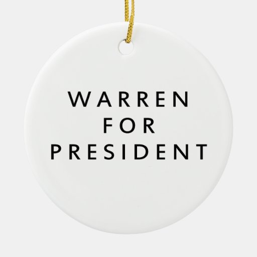 WARREN FOR PRESIDENT - 2016.png Christmas Tree Ornaments
