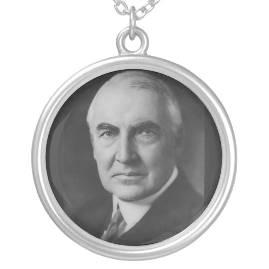 Warren G. Harding 29th President Silver Plated Necklace