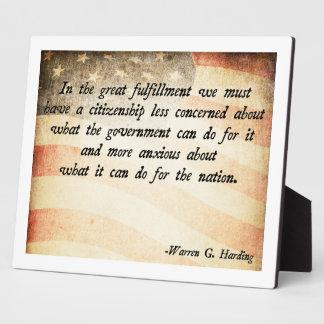 Warren G. Harding Plaque