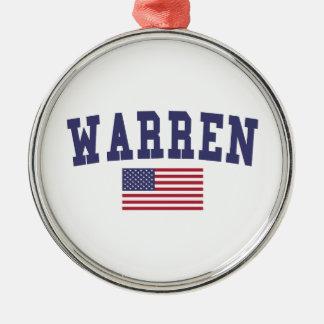 Warren MI US Flag Metal Ornament