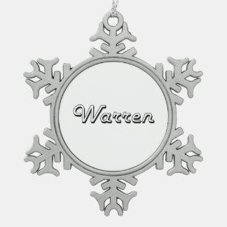 Warren Michigan Classic Retro Design Snowflake Pewter Christmas Ornament