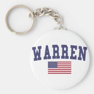 Warren OH US Flag Keychain