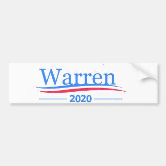 Warren para el presidente 2020, blanco clásico de pegatina para auto