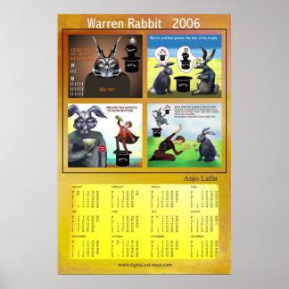 Warren Rabbit 2006 calendar by Anjo Lafin Poster