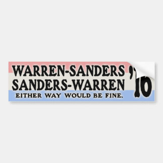 Warren - Sanders, Sanders Warren Bumper Sticker