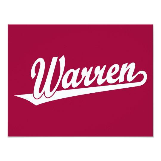 Warren script logo in white card