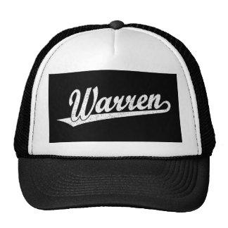 Warren script logo in white distressed trucker hat