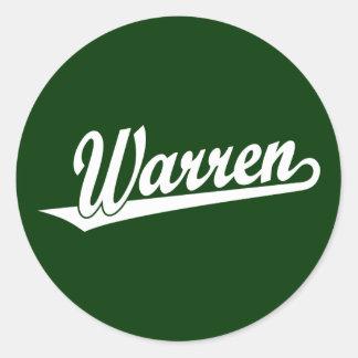 Warren script logo in white round sticker