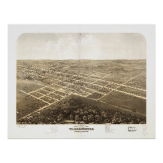 Warrensburg Missouri 1869 Antique Panoramic Map Poster