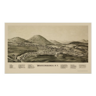 Warrensburg, NY Panoramic Map - 1891 Poster