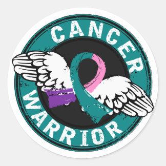 Warrior 14C Thyroid Cancer Classic Round Sticker