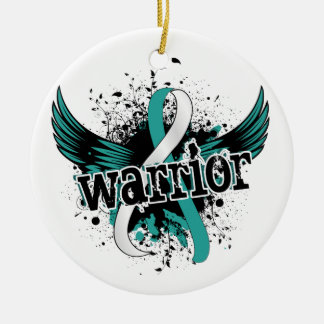 Warrior 16 Cervical Cancer Double-Sided Ceramic Round Christmas Ornament