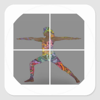Warrior 2 Yoga Pose Series Square Sticker