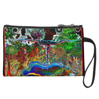 WARRIOR 3 Yoga Pose Sueded Clutch by deprise b Wristlet Clutches