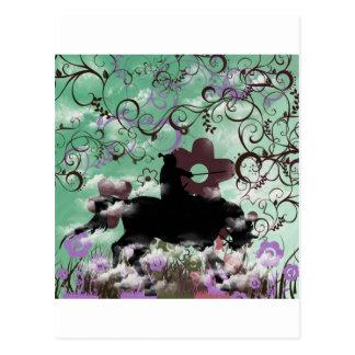 Warrior and flower postcard