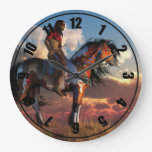 Warrior And War Horse Large Clock at Zazzle