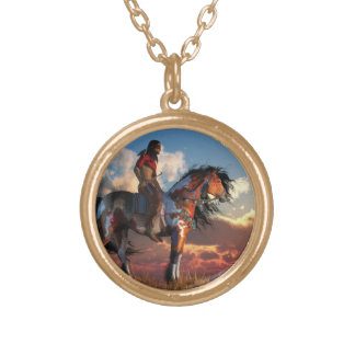Warrior and War Horse Round Pendant Necklace