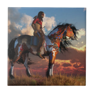 Warrior and War Horse Small Square Tile