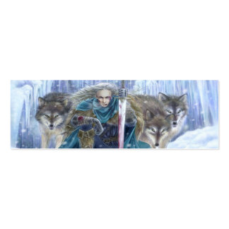 Warrior and Wolves Fantasy Art Bookmark Double-Sided Mini Business Cards (Pack Of 20)