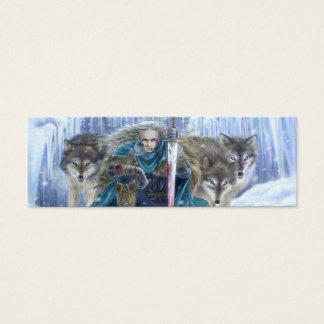 Warrior and Wolves Fantasy Art Bookmark Mini Business Card