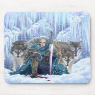 Warrior and Wolves Fantasy Art Mousepad