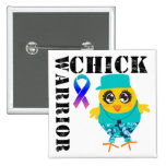 Warrior Chick Thyroid Cancer 2 Inch Square Button