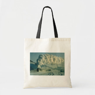 Warrior crosses the wintry landscape with a full l canvas bag