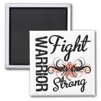 Warrior Fight Strong Endometrial Cancer 2 Inch Square Magnet