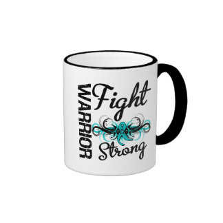 Warrior Fight Strong Ovarian Cancer Ringer Coffee Mug