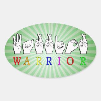 WARRIOR FINGERSPELLED ASL NAME SIGN OVAL STICKER