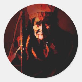 Warrior Geronimo Round Stickers