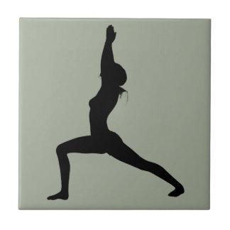 Warrior I Yoga Pose in Silhouette Tile