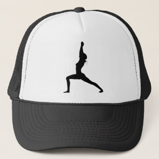 Warrior I Yoga Pose in Silhouette Trucker Hat