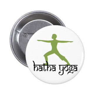 Warrior II Pose Hatha Yoga Buttons