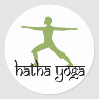 Warrior II Pose Hatha Yoga Classic Round Sticker