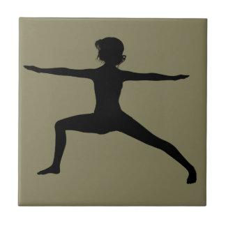 Warrior II Yoga Pose in Silhouette Ceramic Tile