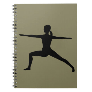 Warrior II Yoga Pose in Silhouette Notebook