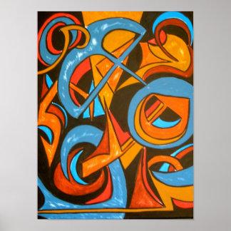 Warrior One Yogi - Abstract Art Poster